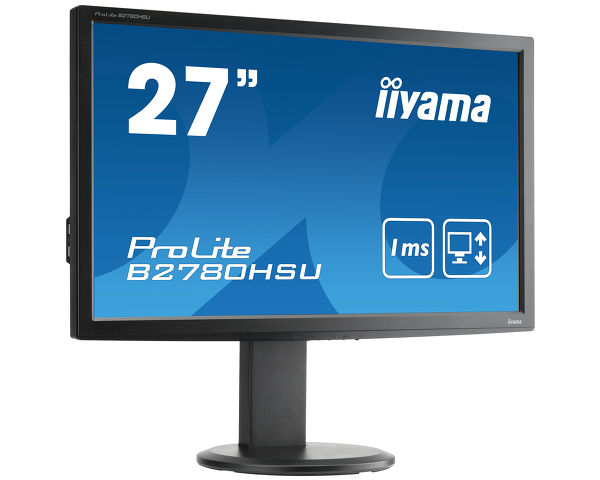 "ProLite B2780HSU-B1 - The Prolite B2780HSU is a 27"" Full HD monitor with a low power LED-backlit display. It features a stunning 1 ms Response Time, 4 Port USB Hub, a High Definition 1920 x 1080 Resolution and comes with VGA, DVI and HDMI connections. The >5 000,000:1 Advanced Contrast Ratio and 300 cd/m² brightness offer the user clear and vivid images. The ergonomic stand offers 11cm height adjustment with pivot and swivel, making this screen suitable for a wide range of applications and environments where workplace flexibility and ergonomics are key factors . The Prolite B2780HSU is an excellent choice for Universities, Corporate, Financial and Design Markets."